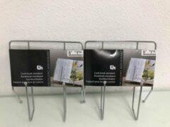 Merkloos / Sans marque Kookboekstandaarden - twee stuks - 24cm hoog en breed - ijzer