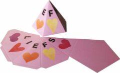 """Presentdoosjes.nl Presentdoosje Pyramide doosje vijfhoek """"Liefs"""" roze: 11,5 x 8cm (10 stuks)"""