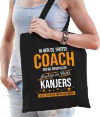 Bellatio Decorations Trotse coach van kanjers katoenen cadeau tas voor dames - zwart - verjaardag - kado cadeau tas voor coaches