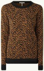 Bruine Scotch & Soda Fijngebreide pullover met panterprint
