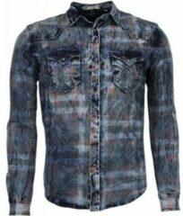 Enos Denim Overhemd - Slim Fit Lange Mouwen Heren - Kleur Print - Blauw Casual overhemden heren Heren Overhemd Maat XS
