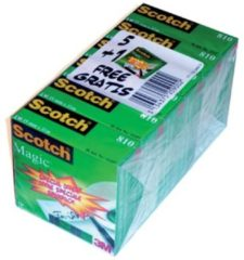 Scotch plakband Magic Tape formaat 19 mm x 33 m pak van 6 rollen