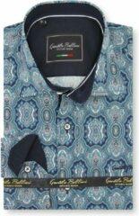 Gentile Bellini Heren Overhemd - Slim Fit - Ottoman Mosaic - Blauw - Maat S