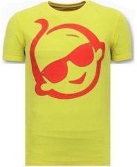 Gele T-shirt Korte Mouw Local Fanatic Print Zsal Sunglass
