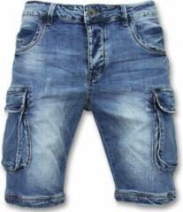 Enos Korte Spijkerbroek Mannen - Shorts Heren Spijker - J981 - Blauw Korte Broek Short Jeans Maat W28