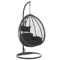 Beliani Hangstoel met standaard rotan zwart TOLLO