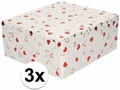 Shoppartners 3x Inpakpapier/cadeaupapier metallic wit met rode hartjes en zilveren 150 x 70 cm per rol - kadopapier / cadeaupapier/papier