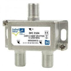 Grijze Hirschmann splitter DFC2104 met 2 uitgangen - 3,7 dB / 5-1250 MHz