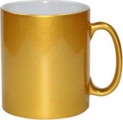 Goudkleurige Bellatio Decorations 2x gouden koffie/ thee mokken 330 ml - geschikt voor sublimatie drukken - Gouden onbedrukte cadeau koffiemok/ theemok