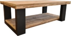 Bruine Wood4you - Salontafel New England - Steigerhout 140lx72dx43h Dubbel