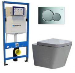 Douche Concurrent Geberit UP 320 Toiletset - Inbouw WC Hangtoilet Wandcloset - Alexandria Sigma-01 Glans Chroom