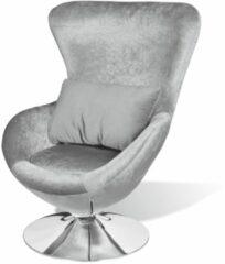 Zilveren VidaXL Kleine draaibare designfauteuil met kussen (zilver)