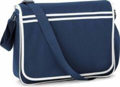 Blauwe Bagbase Retro schoudertas/aktetas navy/wit 40 cm voor dames/heren - Schooltassen/laptop tassen met schouderband