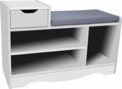 Happy Home HFH06-WEI - Schoenenbank met la, 3 vakken en zitkussen - wit