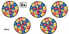 Thema party 5x Dartbord klittenband 28 cm 4-delig