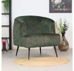 Gele Livin24 Moderne fauteuil Billy velvet donkergroen