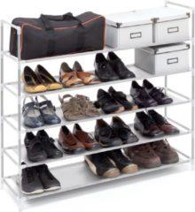 Relaxdays schoenenrek met handgrepen - 5 etages - Wit