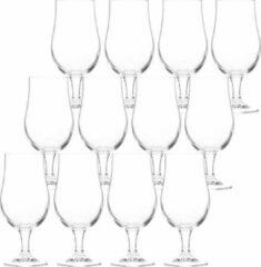 Transparante Merkloos / Sans marque 12x Bierglazen op voet 370 ml - Speciaalbier glazen van 18 cm
