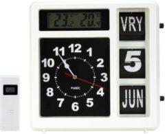 Fysic FKW-248 Jumbo klok met weerstation | Meet binnen en buiten temperatuur in klassiek design | Wit / Zwart