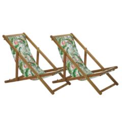 Beliani Strandstoel set van 2 acaciahout stof lichtbruin/meerkleurig ANZIO