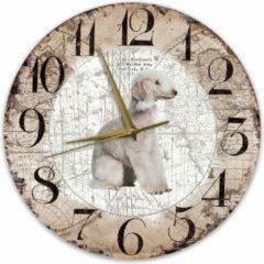 Bruine Creatief Art Houten Klok - 30cm - Hond - Bedlington Terriër