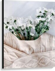 Roze KuijsFotoprint Canvas - Trui Bloempot - 75x100cm Foto op Canvas Schilderij (Wanddecoratie op Canvas)