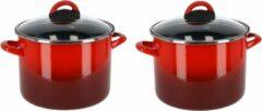 Gerim Set van 2x stuks rvs rode kookpan/pannen Cuenca met glazen deksel 18 cm 5 liter