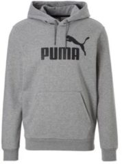 Grijze PUMA ESS Hoody FL Big Logo Trui Heren - Medium Gray Heather - Maat S