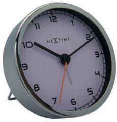 NeXtime Company Alarm - Wekker - Stil Uurwerk - Rond - Metaal - Ø9.0 cm - Wit/ Zilver