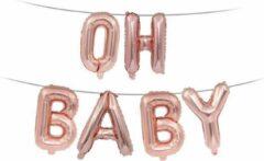 Goudkleurige Luminous Luxury Folie Ballon met Tekst OH BABY | Roségoud | Bruiloft Accessoires