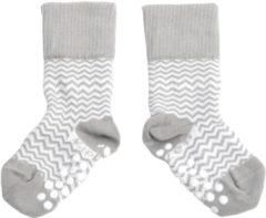KipKep Blijf-Sokjes met antislip zool - Maat 12-18 mnd - Grijs zigzag, 1 paar