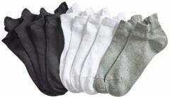 Sneakersokken Blue Moon 4x zwart, 4x wit, 2x grijs