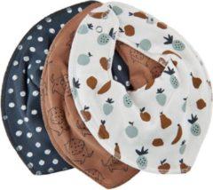 Bruine Pippi Slab Bandana Junior Polykatoen Wit One-size 3 Stuks