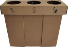 KarTent - Kartonnen Trio Sorteer Prullenbak - 20L vuilniszakken - Duurzaam Karton