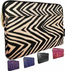 STARS™ STARS - 15.6 inch Laptophoes Zebraprint met Zijvak - Beige - Geschikt tot 16.4 inch