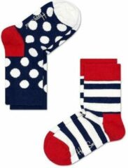 Happy Socks - Kid's Stripe Sock 2-Pack - Multifunctionele sokken maat 4-6 Years, blauw/rood/wit