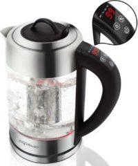 Roestvrijstalen Aigostar Krystal 30KLV - Glazen waterkoker met Led verlichting en theefilter - zwart