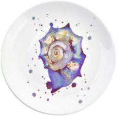 Decoratie bord | Ø 20*2 cm | Blauw | Keramiek | Rond | Slakkenhuis | Clayre & Eef | 6CE0960