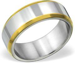 Zilveren Amanto Ring Avery - Heren - 316L Staal Goudkleurig PVD - 8 mm - Maat 60 - 19
