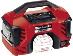 Einhell Hybride Compressor Pressito - Onderdeel van de Power-X-Change productlijn - 18V / Lithium-Ion - Hybride: te gebruiken op netstroom en op accu - 90 W - Geleverd inclusief 3-delig opblaasadapterset - Geleverd exclusief accu en snellader