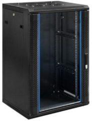 """Zwarte Alfaco 19-6418, 18U, 19"""" serverkast - wandkast met glazen voordeur, (BxDxH) 600x450x1000mm"""