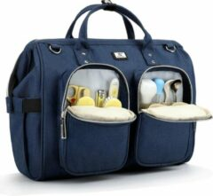 Beste luiertas met waterdichte aankleedkussen en 2 wandelwagenhaken verstelbare schouderriem multifunctionele schoudertas reistas voor onderweg (donkerblauw)