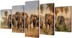 VidaXL Canvas muurdruk set Olifant 200 x 100 cm