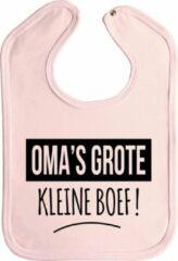 Merkloos / Sans marque Slabbetjes - slabber - baby - Oma's grote kleine boef! - drukknoop - stuks 1 - baby roze