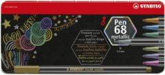 STABILO Pen 68 Metallic Metalen Etui, 8st. Afmeting artikel: lengte 16,5 cm, Lijndikte 1.4 mm