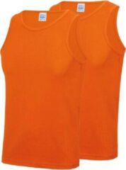 Awdis 2-Pack Maat S - Sport singlets/hemden oranje voor heren - Hardloopshirts/sportshirts - Sporten/hardlopen/fitness/bodybuilding - Sportkleding top oranje voor mannen
