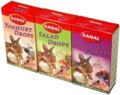 SANAL KNAAGDIER 3-PACK DROPS YOGURT/SALAD/WILD BERRY #95; 3X45 GR