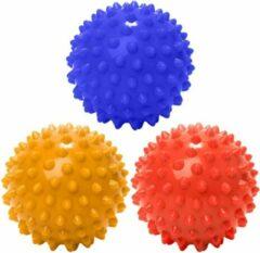 #DoYourFitness - 3 delige set massagebal - »Nica« - Lacrosse Bal / Fasciaball voor effectieve zelfmassage van triggerpoints - diameter 8cm - marineblauw/geel/rood