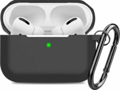 YONO Airpods Pro Case - Siliconen Hoesje met Clip – Zwart