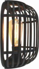 Freelight Wandlamp Treccia Rotan H 26 cm zwart